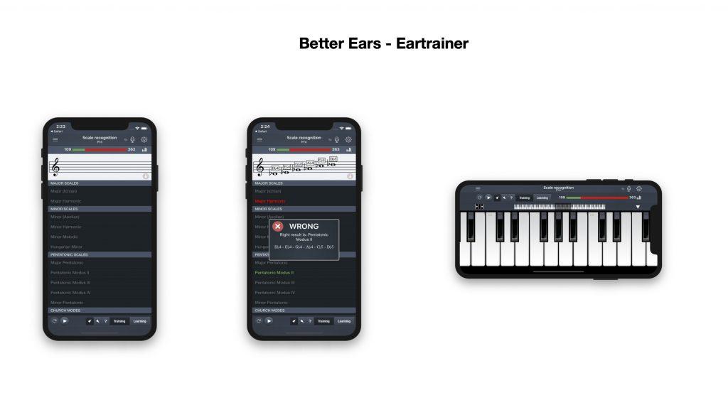 """Mockup der App """"Better Ears"""""""