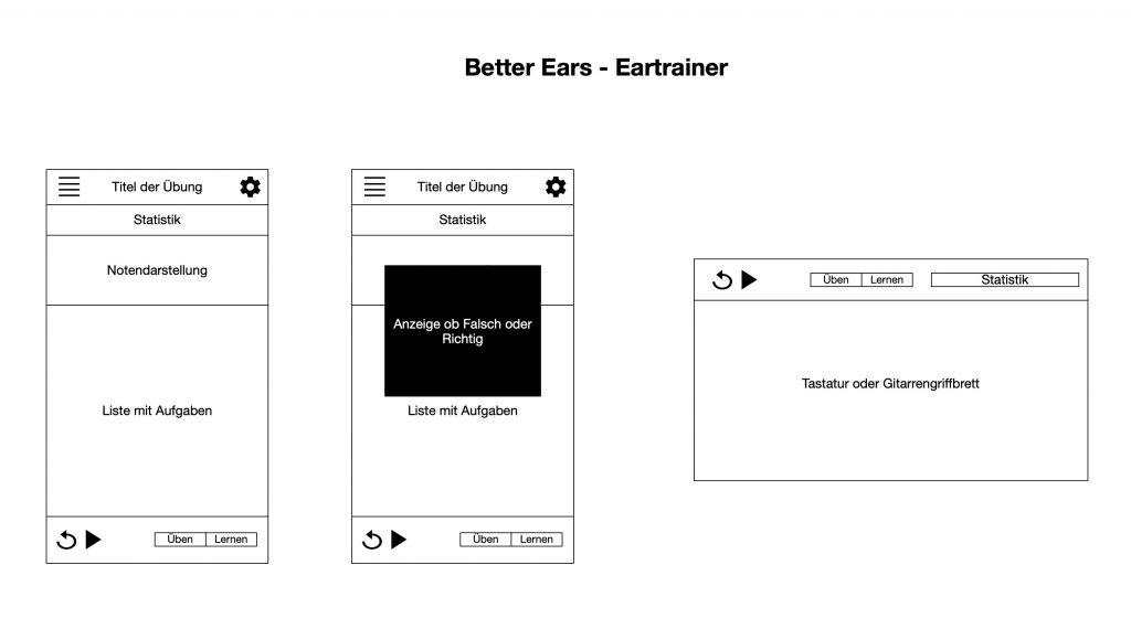 "Wireframe der App ""Better Ears"""